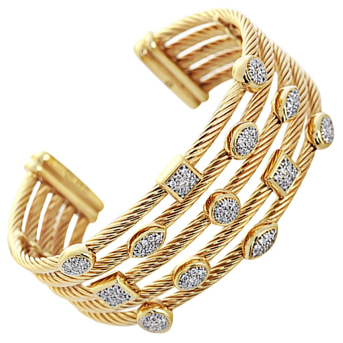 David Yurman diamond gold Confetti Wide Cuff Bracelet For Sale at