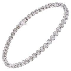 18 Karat White Gold Diamond Millgrain Bracelet