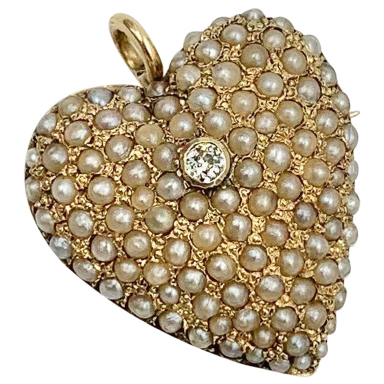 Victorian Old Mine Diamond Pearl Heart Pendant Brooch 14 Karat Gold Antique