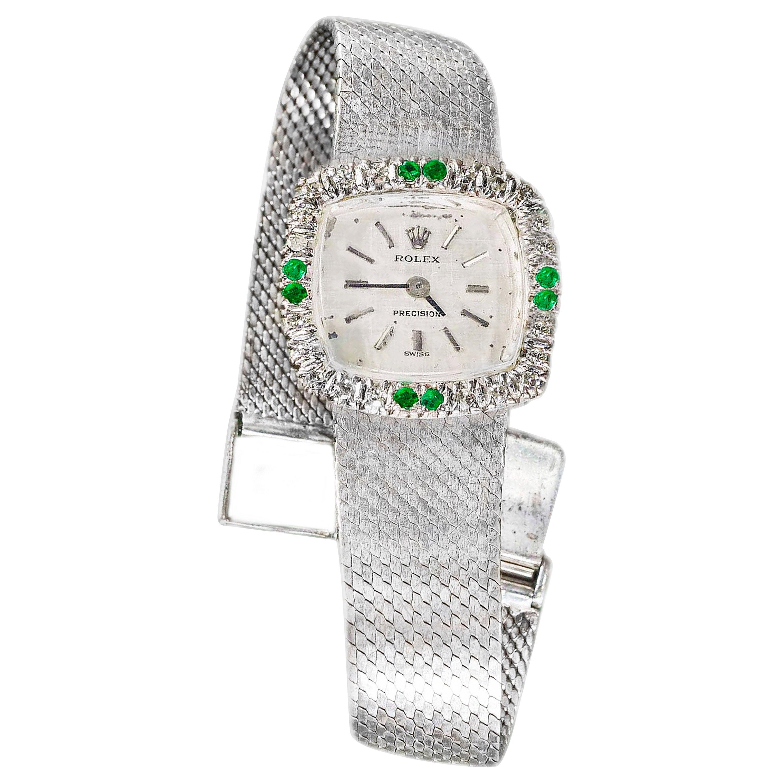 1960s Rolex 18 Karat White Gold Emerald Diamond Set Wristwatch / Bracelet Watch