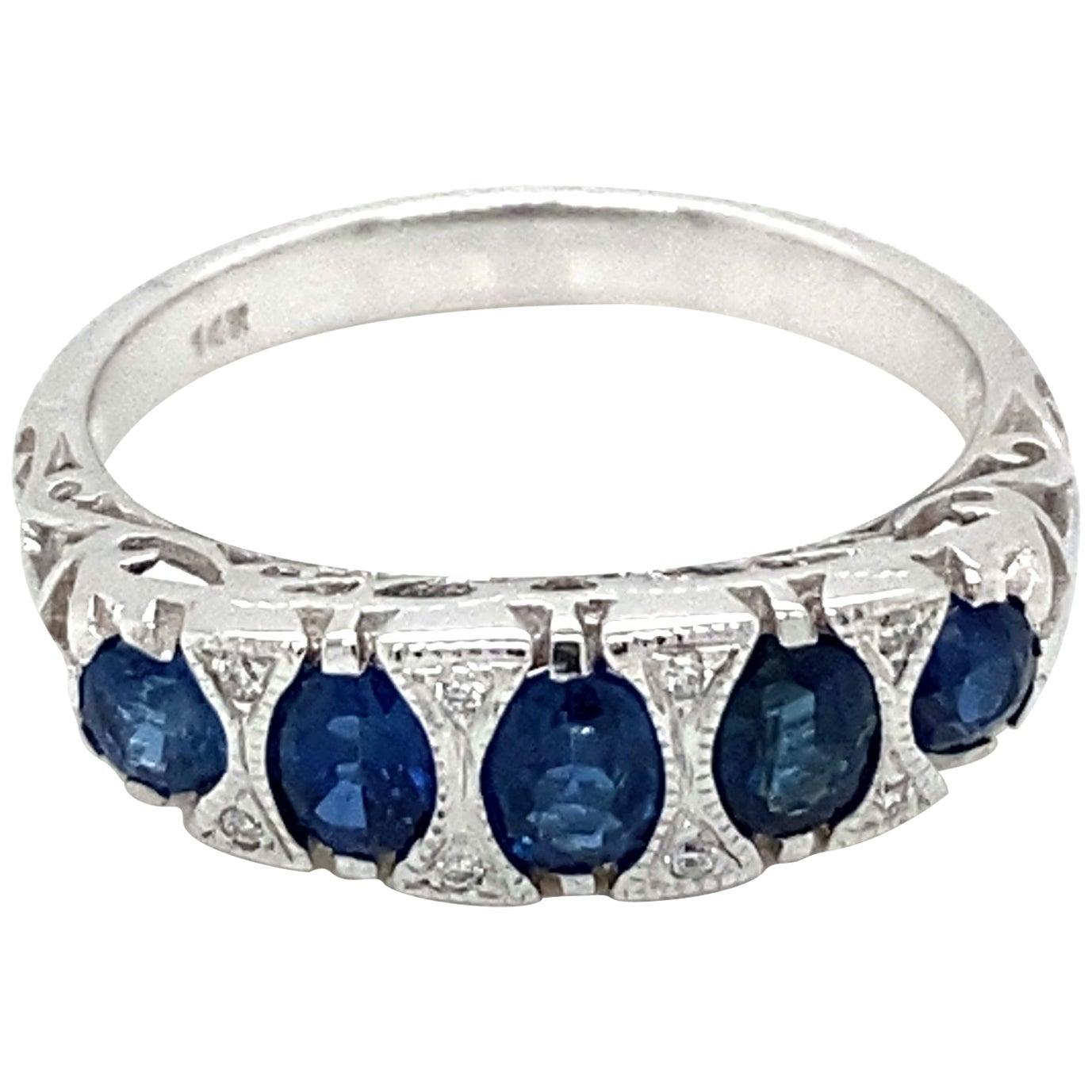 Art Deco Sapphire Diamond Gold Band Ring
