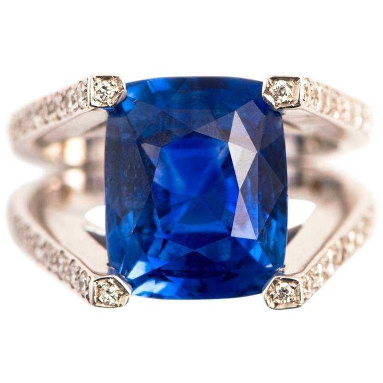 Ceylon Cushion Cut Sapphire Diamond Gold Ring