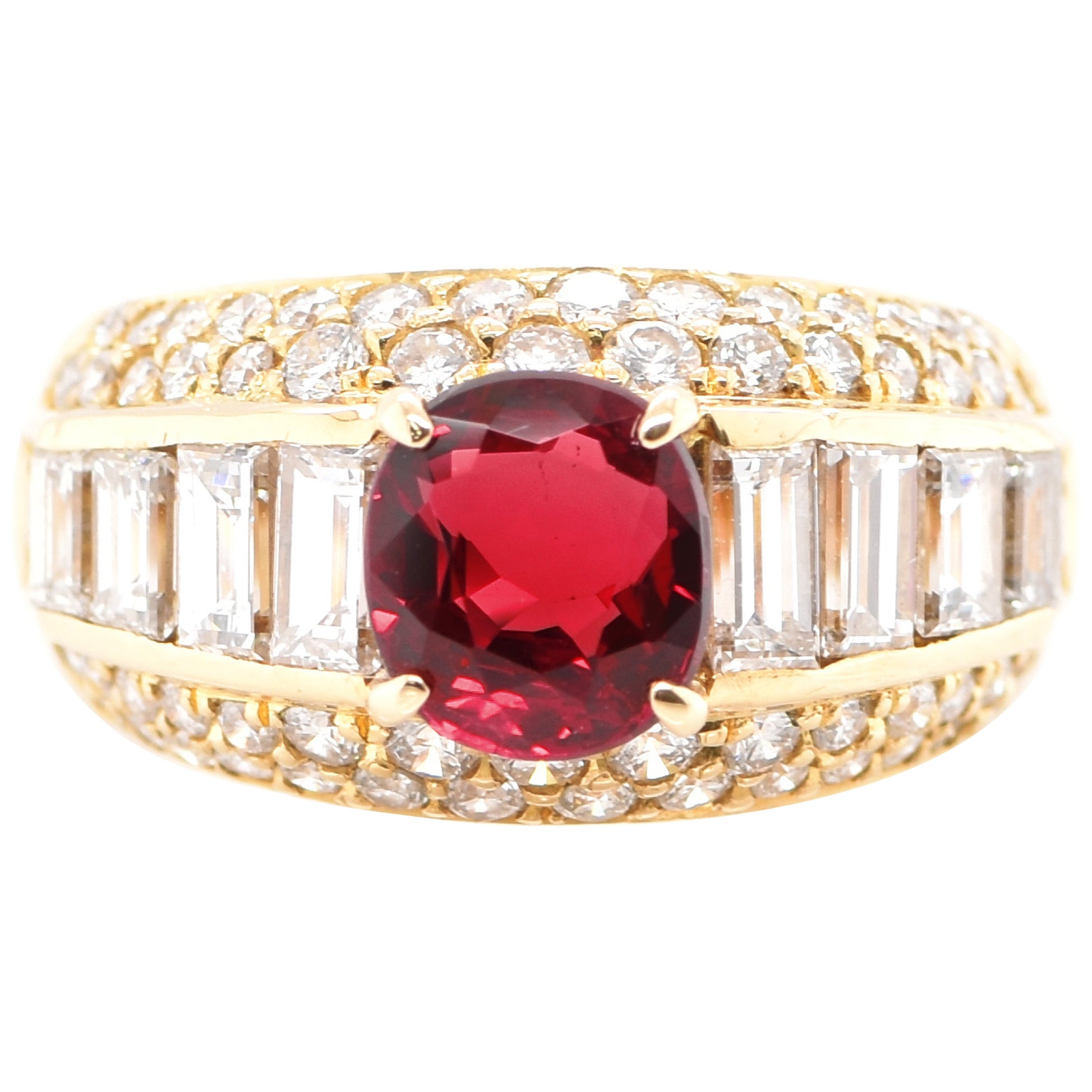 1.48 Carat Ruby and Diamond Band Ring Set in 18 Karat Gold
