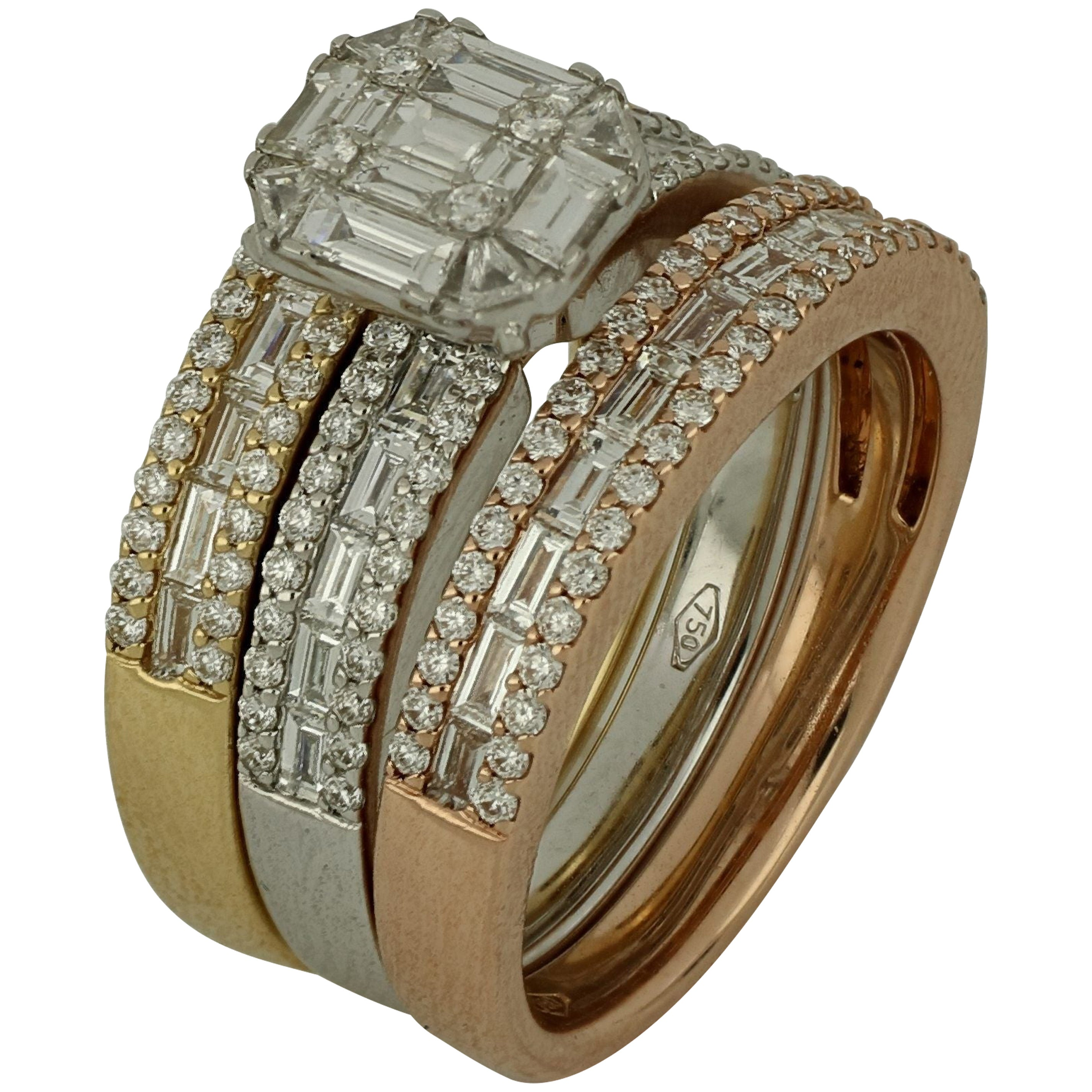 Amwaj Jewellery 18 Karat Rose, White and Yellow Gold Ring with Diamonds
