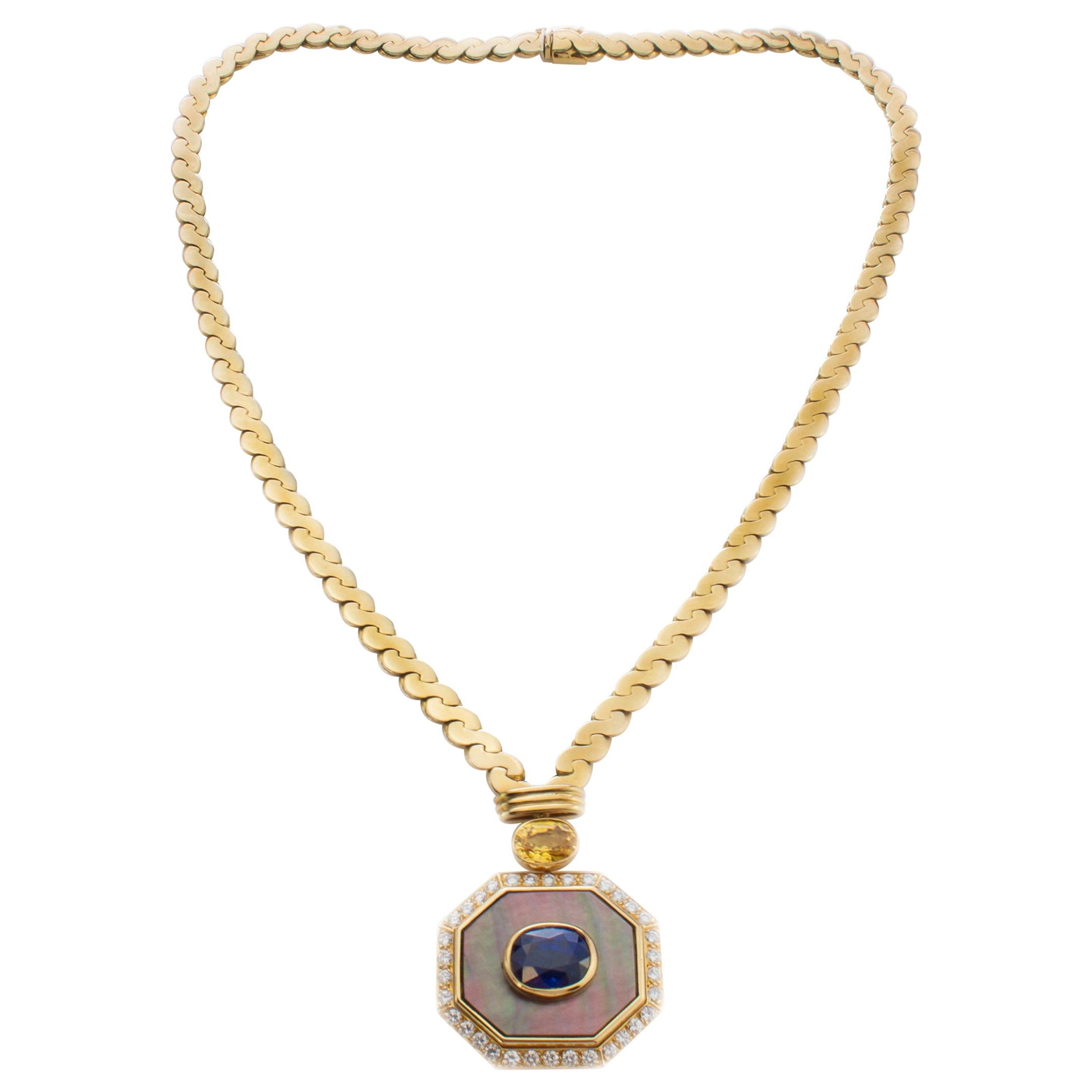 Van Cleef & Arpels 18 Karat Yellow Gold Ladies Necklace with Sapphires, Diamonds