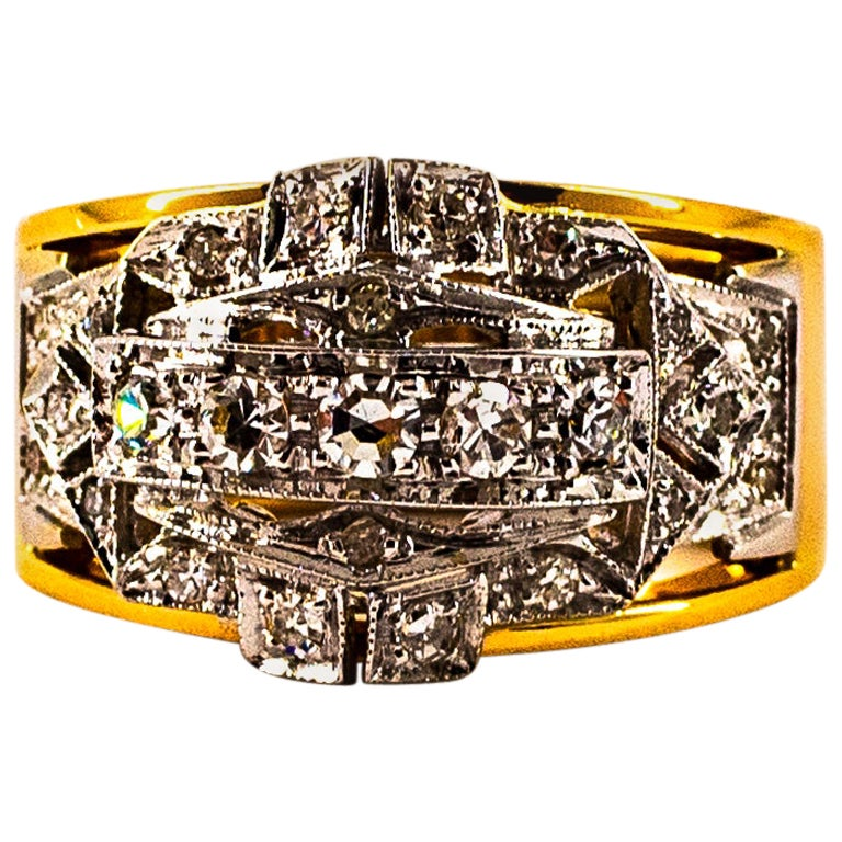 Art Deco Style 0.75 Carat White Old European Cut Diamond Yellow Gold Ring