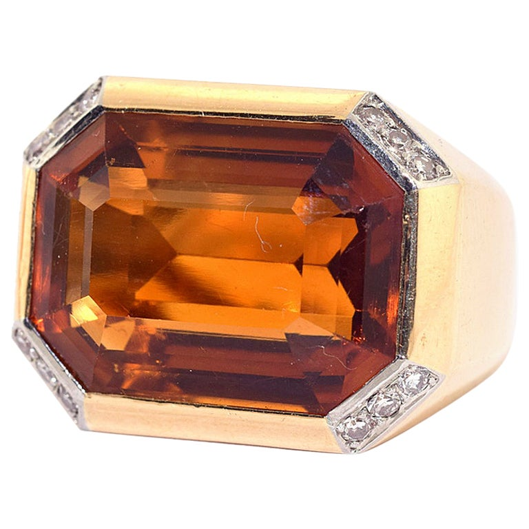 Emerald Cut Citrine and Diamond Cocktail Ring