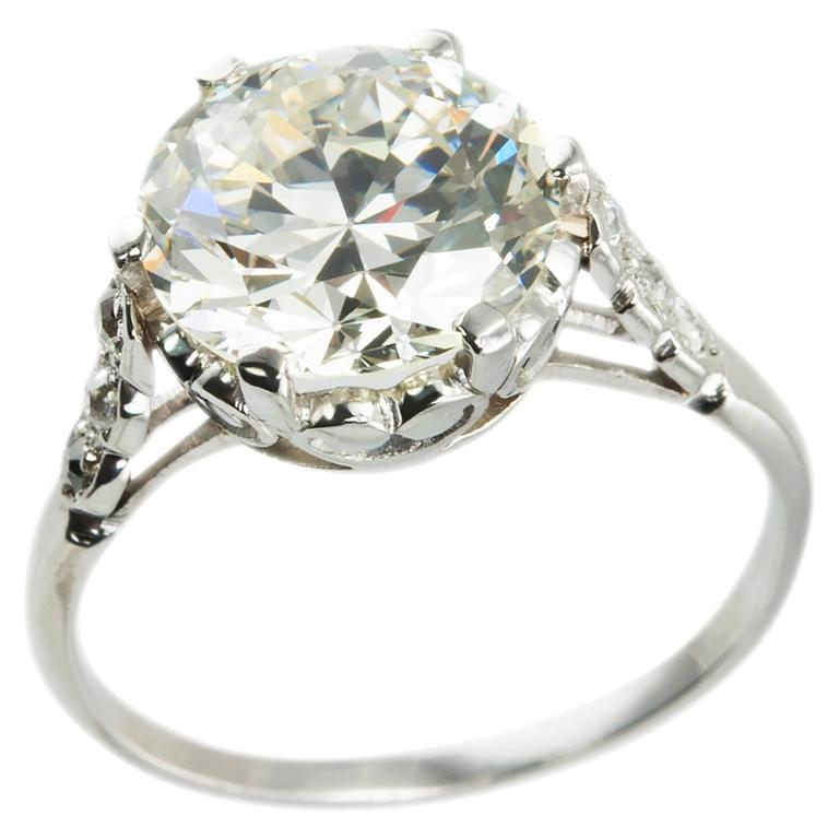 Edwardian 3.36 Carat old European Cut Diamond platinum Ring