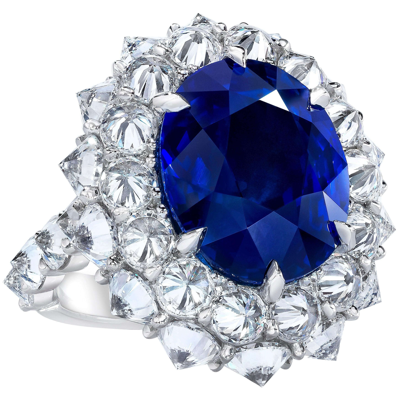 Ceylon Sapphire and Diamond Platinum Ring