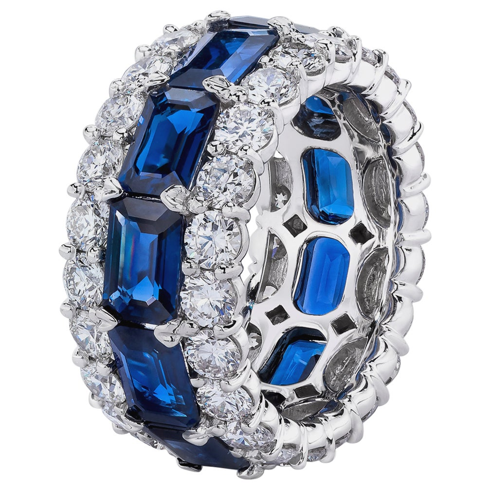 Blue Sapphire Emerald Cuts and Round White Diamond Multi-Row Eternity Band Ring