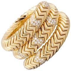 Bulgari Spiga Diamond Gold Snake Bracelet