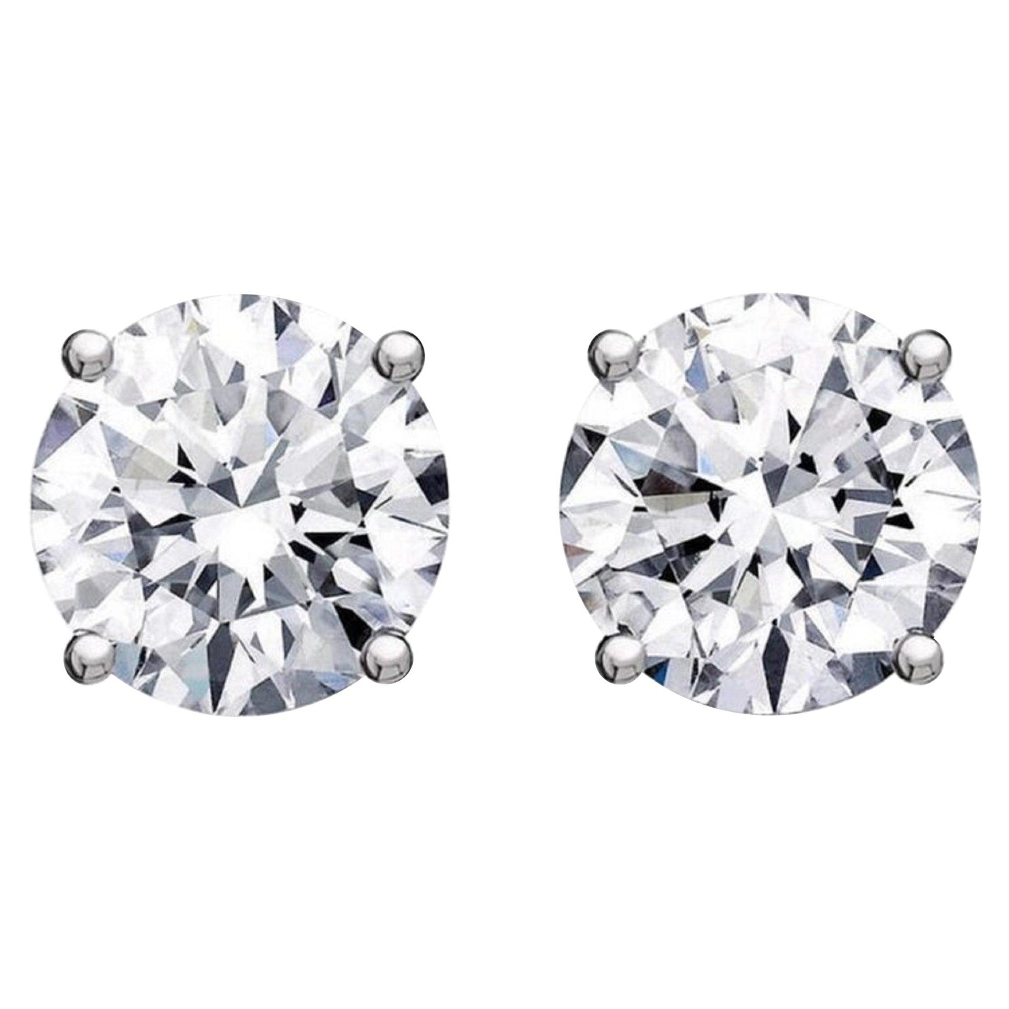GIA Certified 3.80 Carat Brilliant Cut Diamond Studs D Color VS2/SI1 Clarity