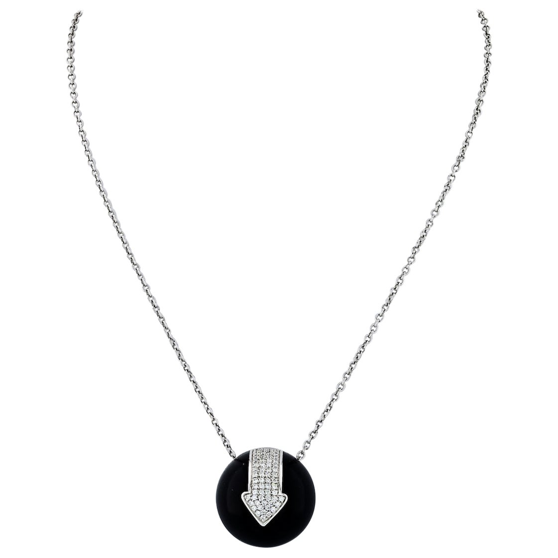 Bvlgari 18 Karat White Gold Diamond Arrow Jet Circle Pendant