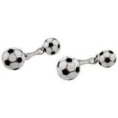 Jona Sterling Silver Enamel Soccer Cufflinks