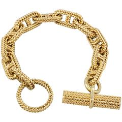 Hermes Large Chaine D'Ancre Tresse Gold Toggle Link Bracelet