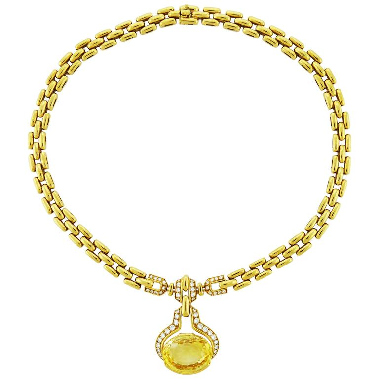 Cartier Yellow Sapphire Diamond Gold Link Necklace