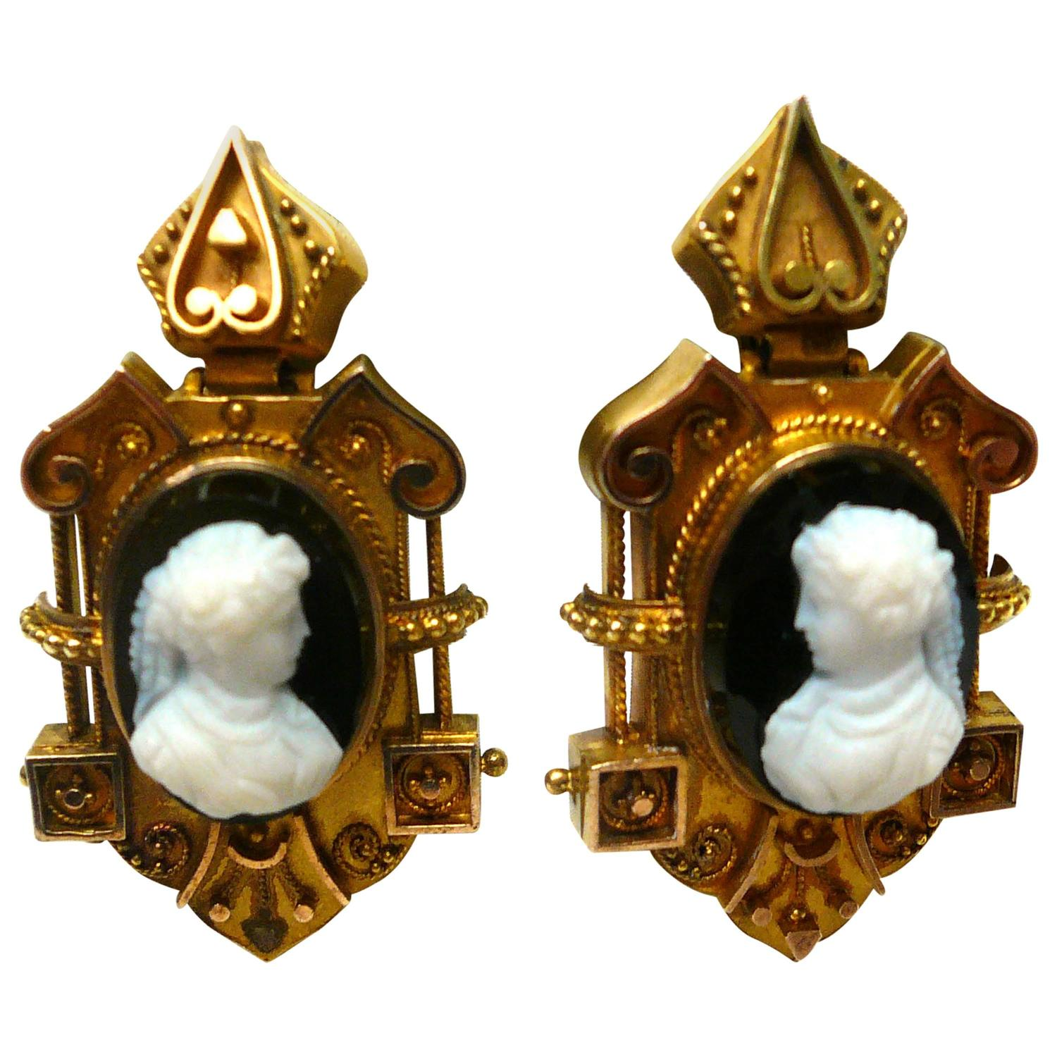 Victorian Carved Onyx Cameo Gold Dangle Earrings For Sale ...