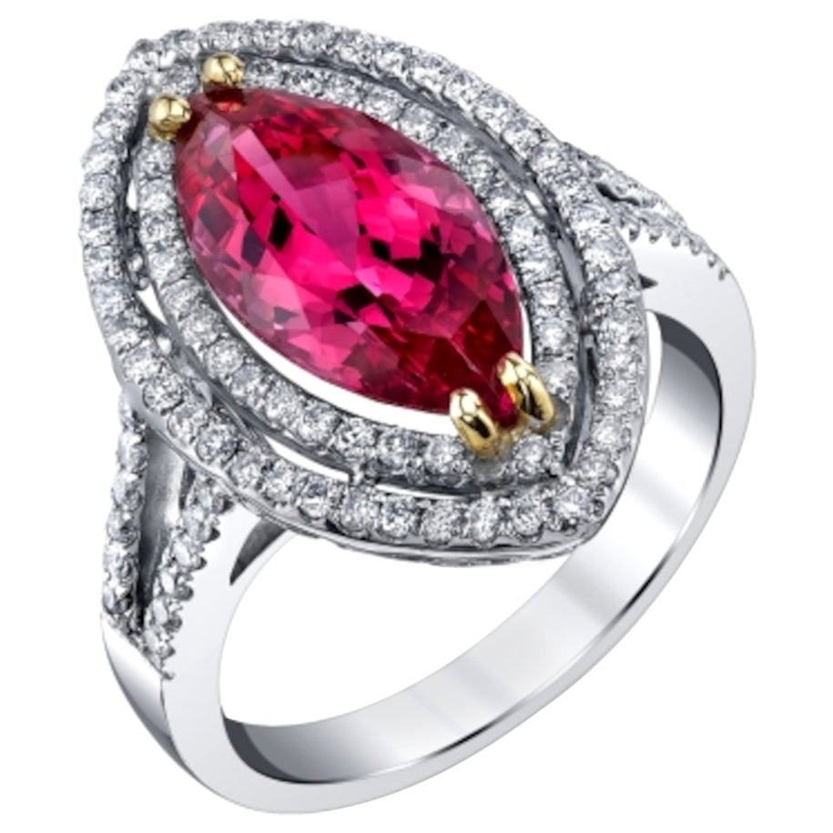 4.60 Carat Hot Pink Spinel Marquise, White Gold Diamond Halo Cocktail Ring