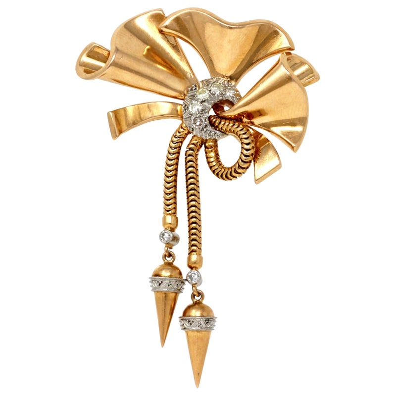 1940s Retro Diamond and Rose Gold Bow Brooch