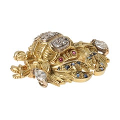 18K Yellow-White Gold Crab Brooch 'Cancer sign' with Diamonds Rubies, Sapphires
