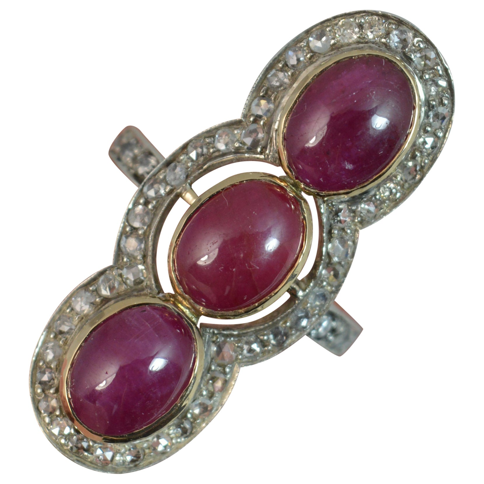 Ruby Cabochon Rose Cut Diamond 14 Carat Gold Panel Cluster Ring