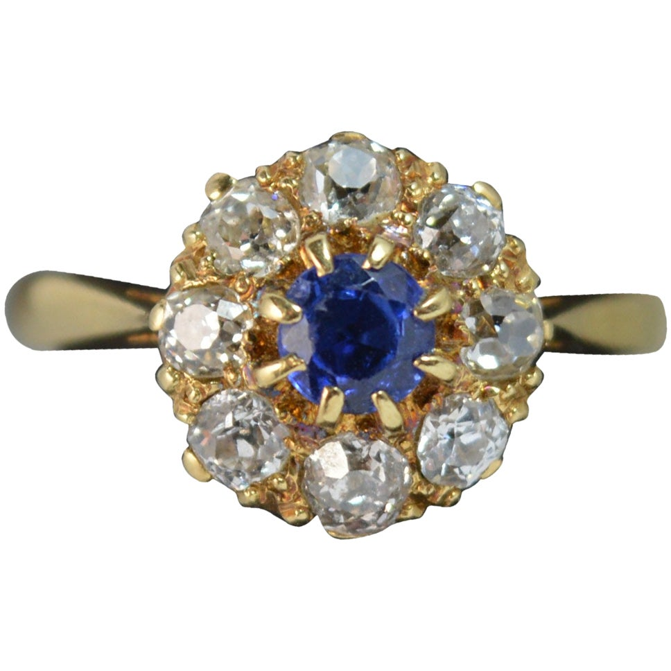 Victorian Sapphire Old Cut Diamond 18 Carat Gold Cluster Ring
