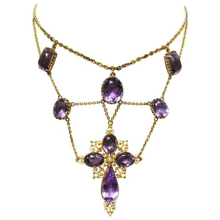 1880s Victorian Amethyst Gold Cross Swag Necklace 1