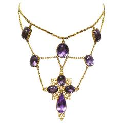 1880s Victorian Amethyst Gold Cross Swag Necklace