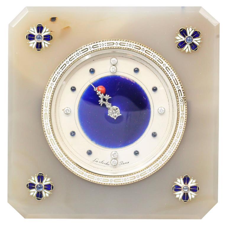 Lacloche Art Deco Diamond Sapphire Agate Coral Silver and Enamel Desk Clock For Sale