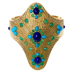 Boucheron 1970s Lapis Lazuli Turquoise Chrysoprase Gold Cuff Bracelet