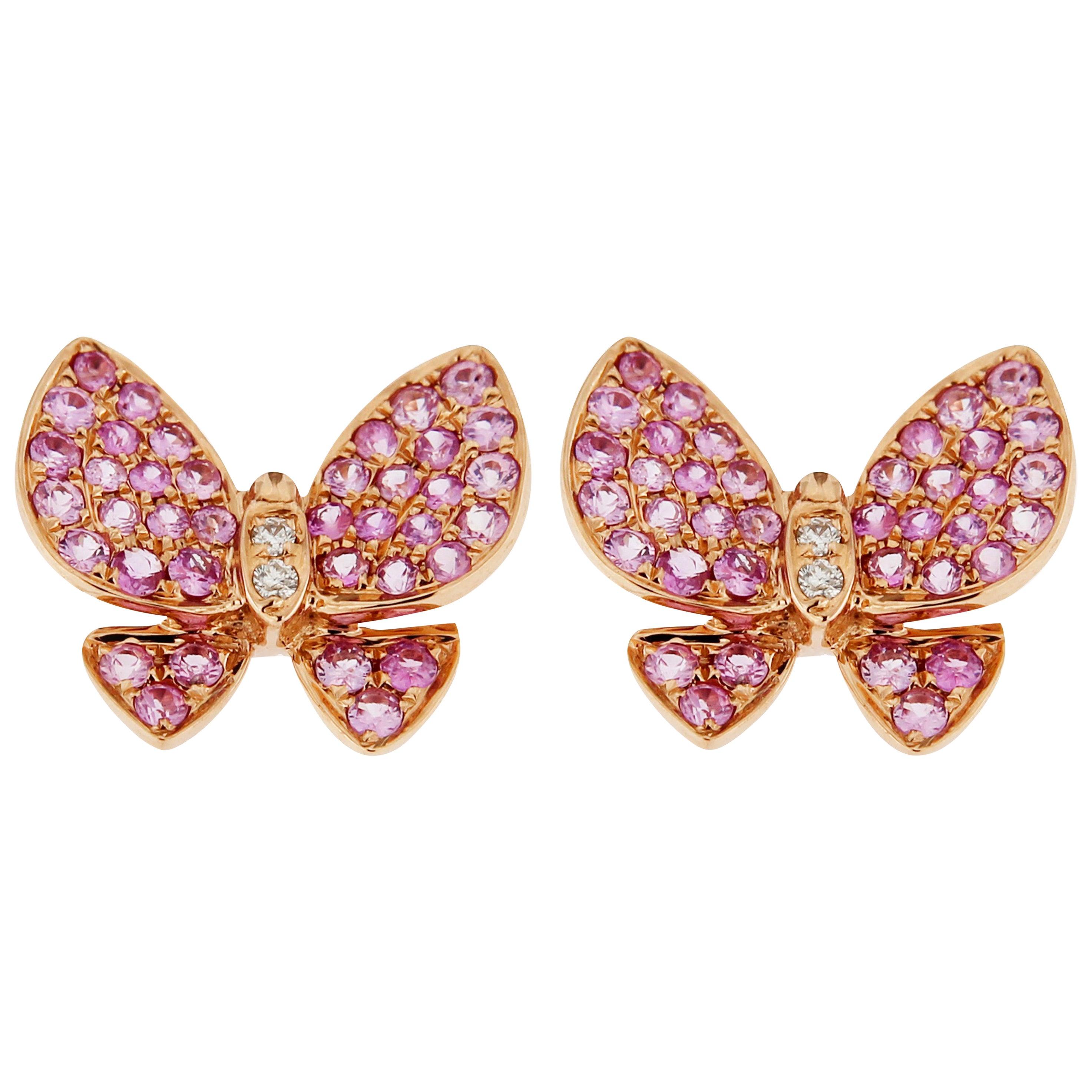 Jona Pink Sapphire White Diamond Rose Gold Butterfly Stud Earrings