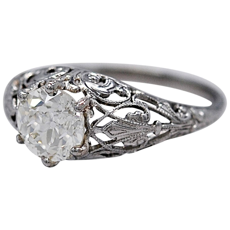 amazing edwardian 1 40 carat platinum engagement