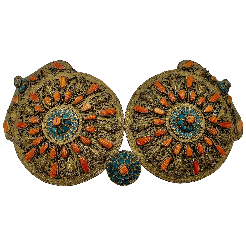Museum Quality Antique Saframpolis Safranbolu Greek Coral Enamel Silver Buckle