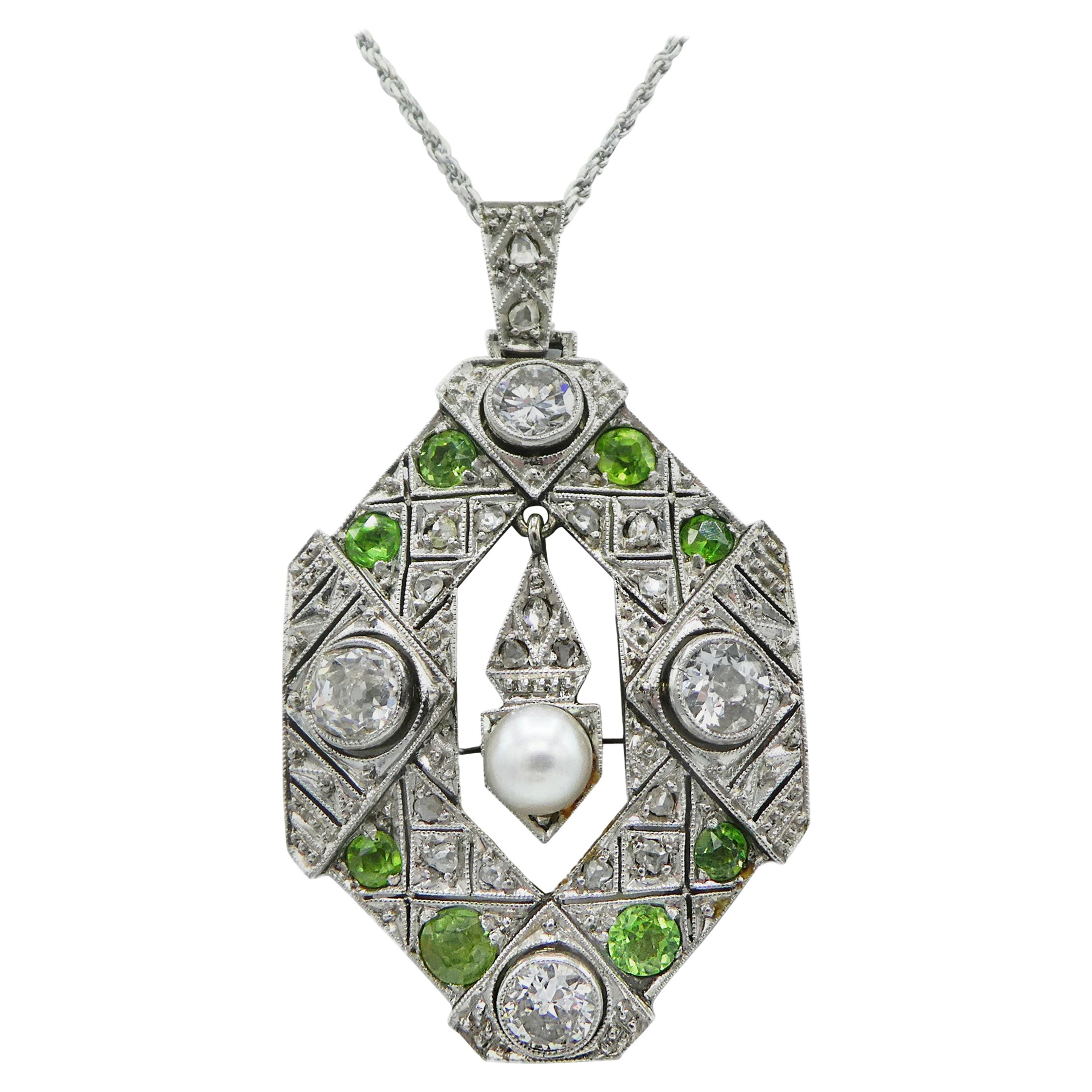 Art Deco Old European and Mine Cut Diamond Peridot Peal Pendant Necklace