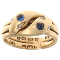 Victorian Double-Headed Sapphire Diamond 18 Karat Gold Snake Ring