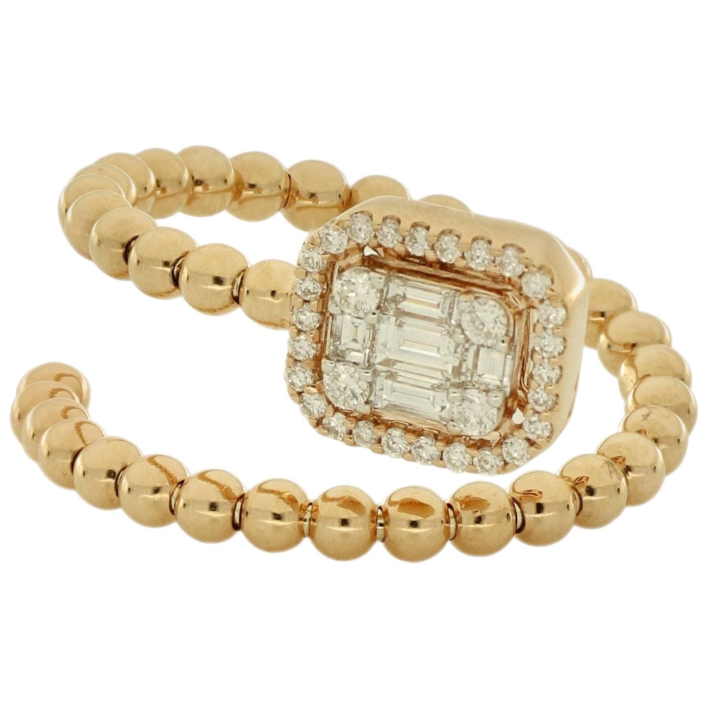 Amwaj Jewellery 18 Karat Rose Gold Ring with White Diamond
