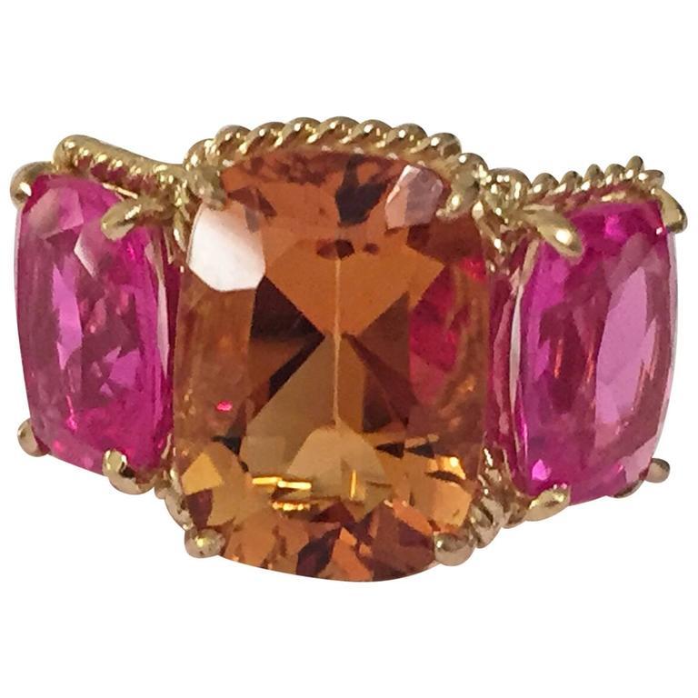 Citrine pink topaz gold Three Stone Ring with Rope Twist Border