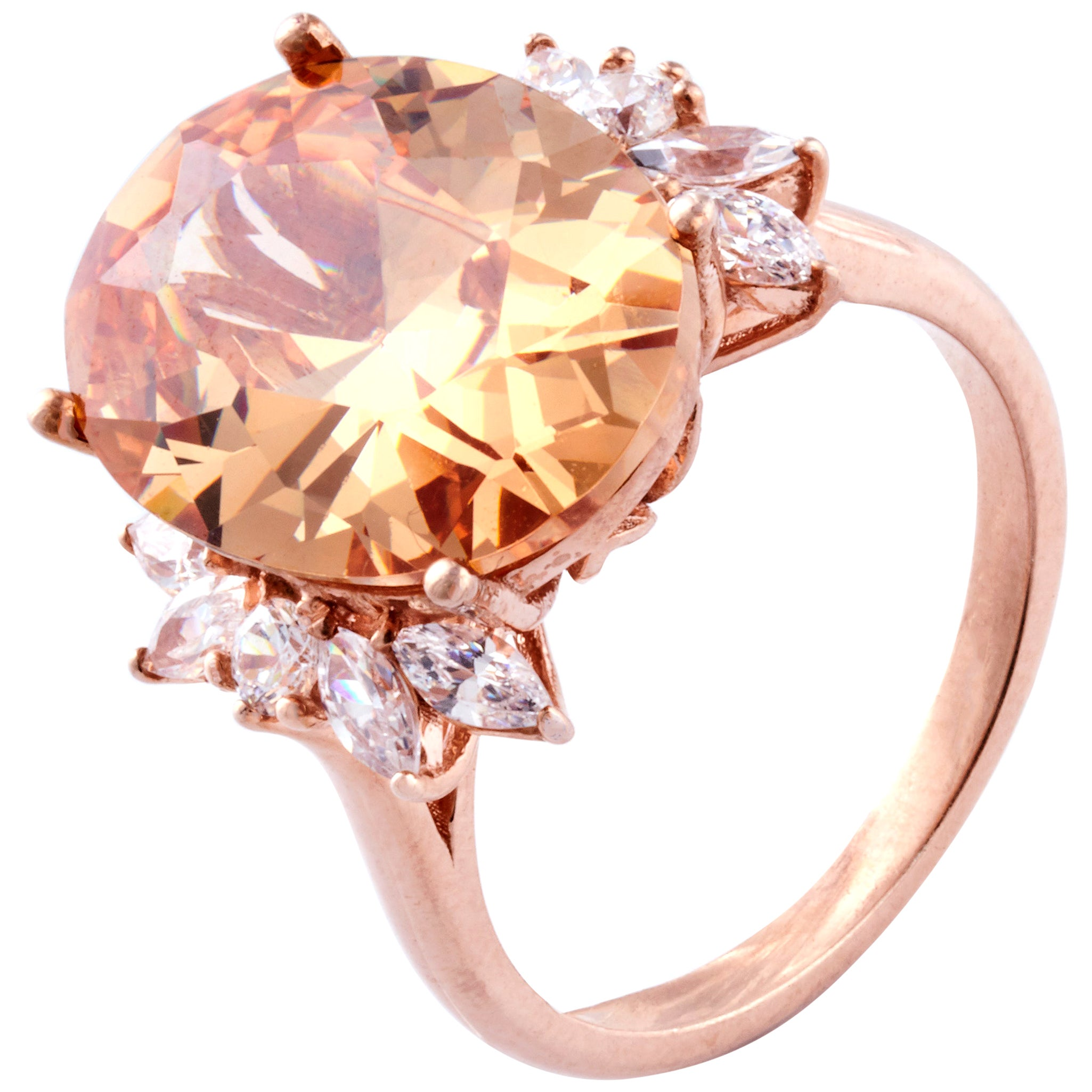 Morganite Diamond Fashion Ring Set in 18 Karat Rose Gold 'VS/G Diamonds'