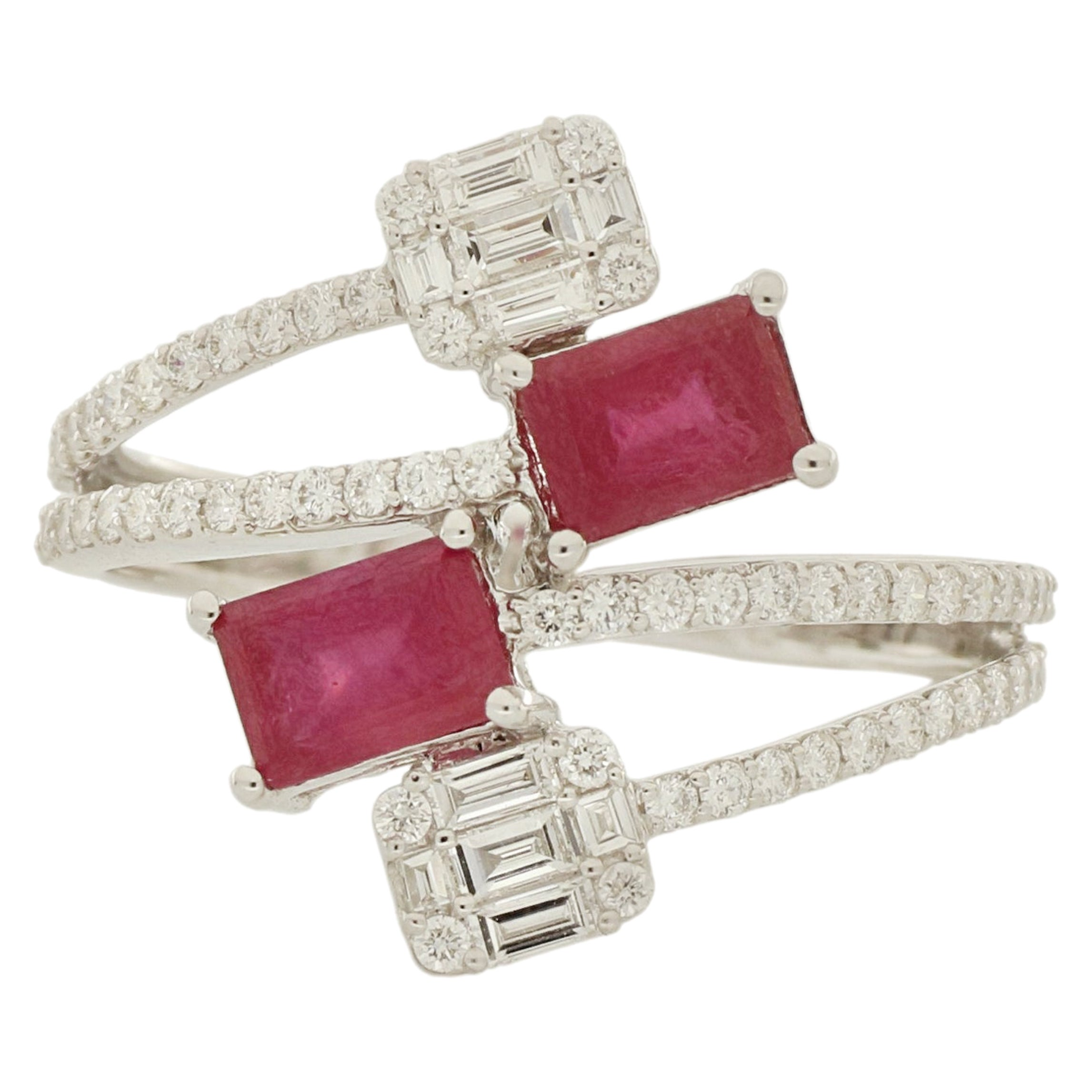 Amwaj Jewellery 18 Karat White Gold Ring with Heated Rubies