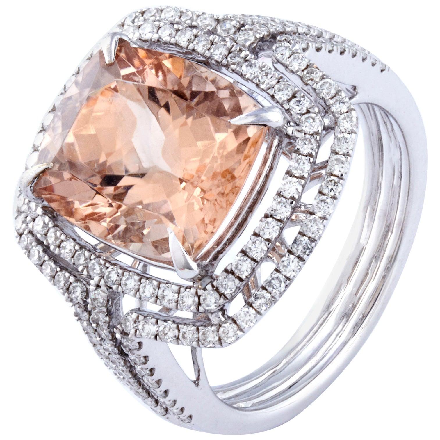 Morganite Diamond Fashion Ring Set in 18 Karat White Gold 'VS/G Diamonds'