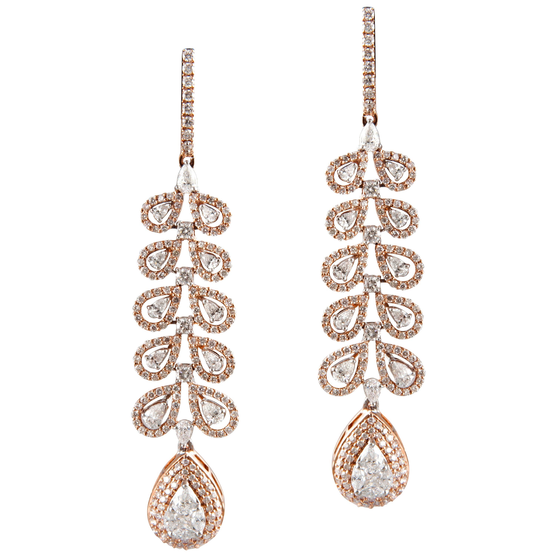 18 Karat Rose Gold White Gold White Diamond Chandelier Earrings