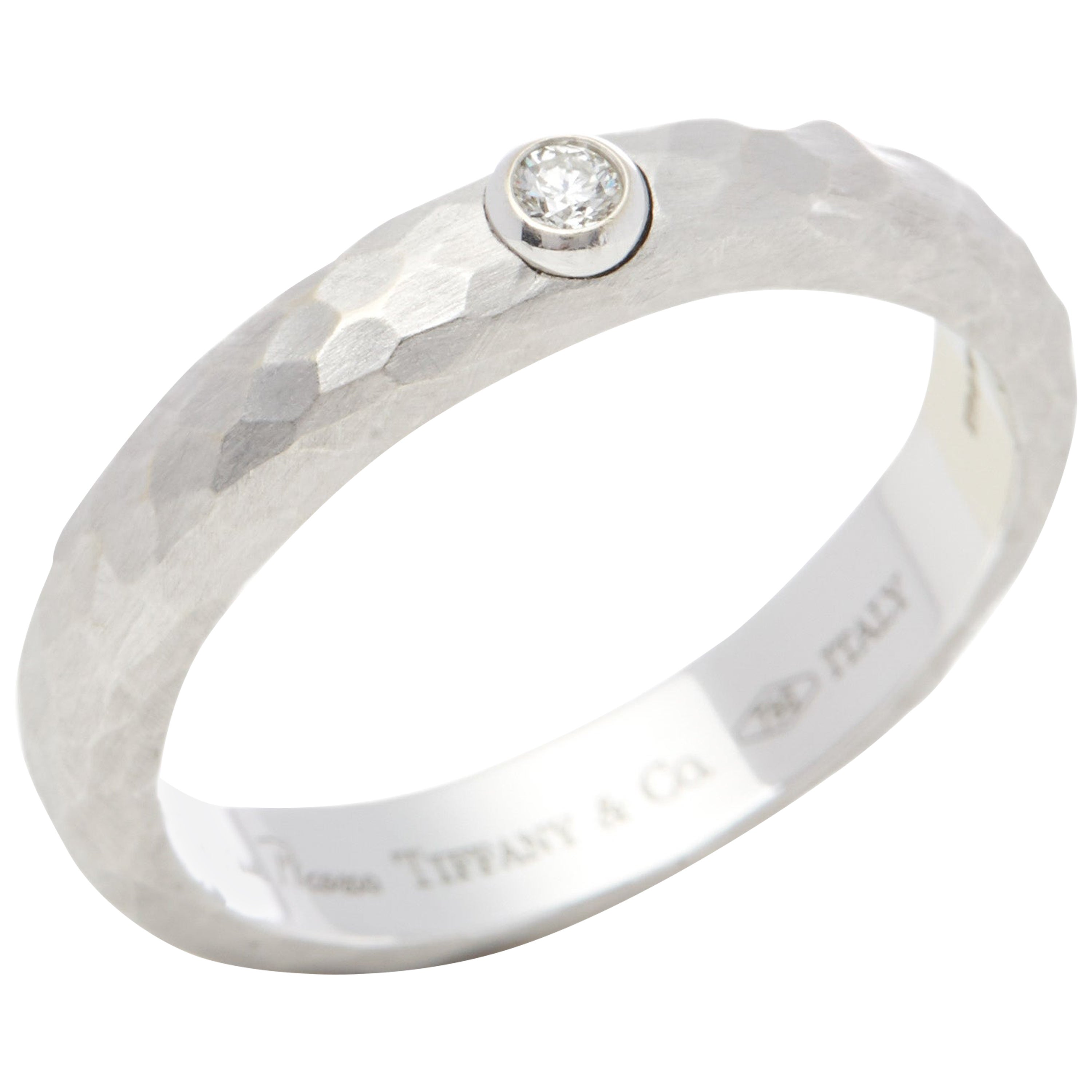 Tiffany &Co 18k White Gold Paloma Picasso Hammered Finish Solitaire Diamond Ring