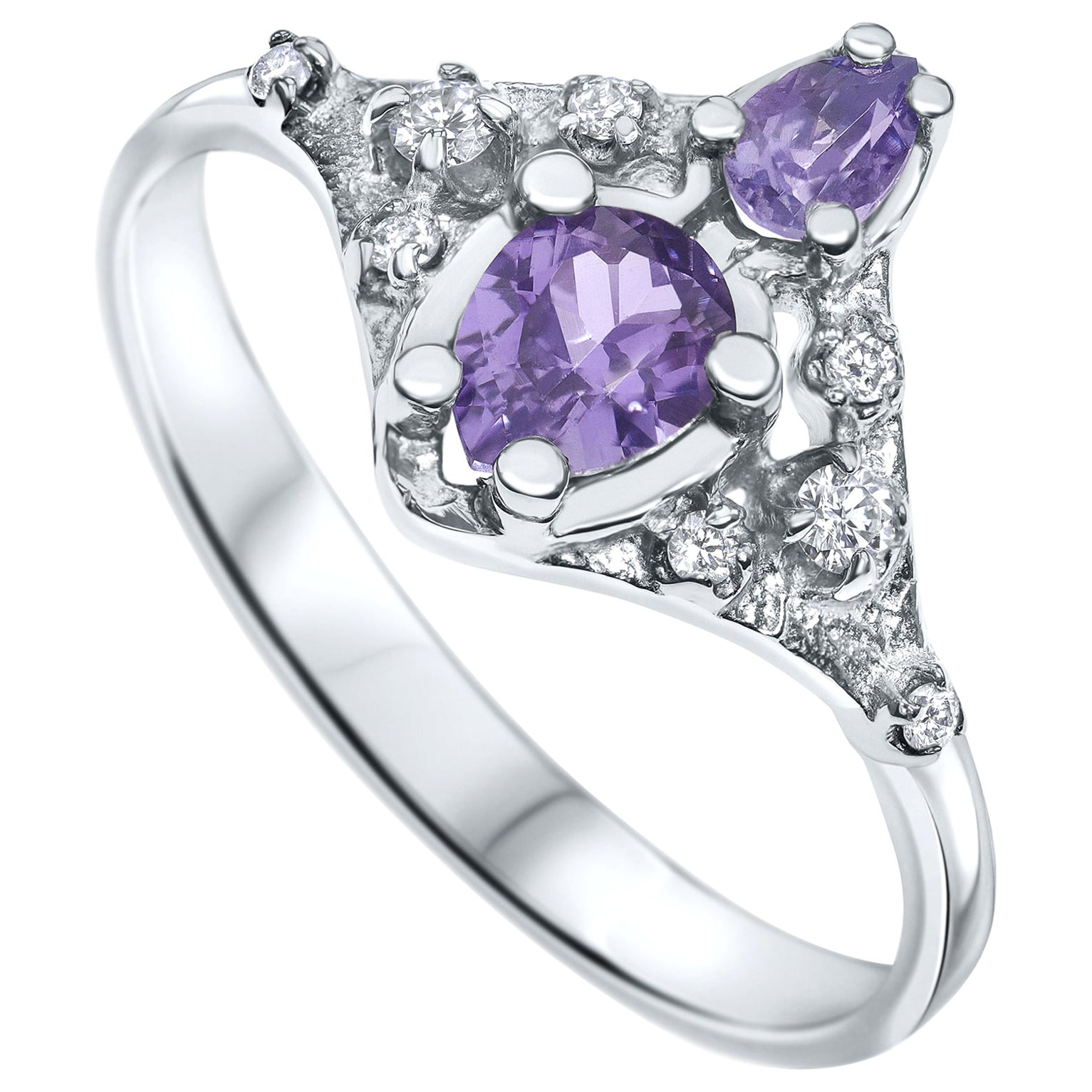 0.70 Carat Natural Lilac Sapphire and Real Diamonds Ring - Shlomit Rogel