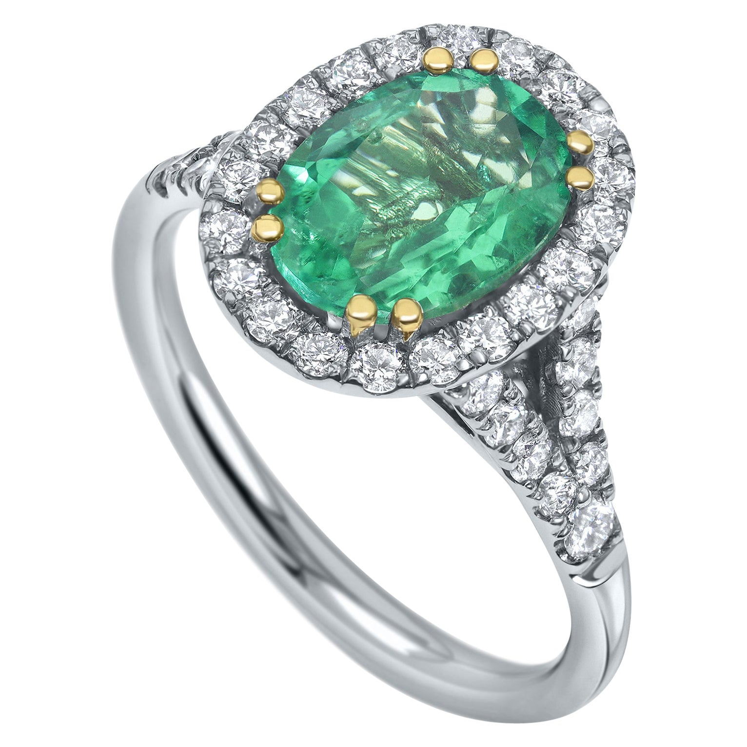 2.39 Carat IGL Certified Natural Afghan Emerald and Diamonds Ring -Shlomit Rogel