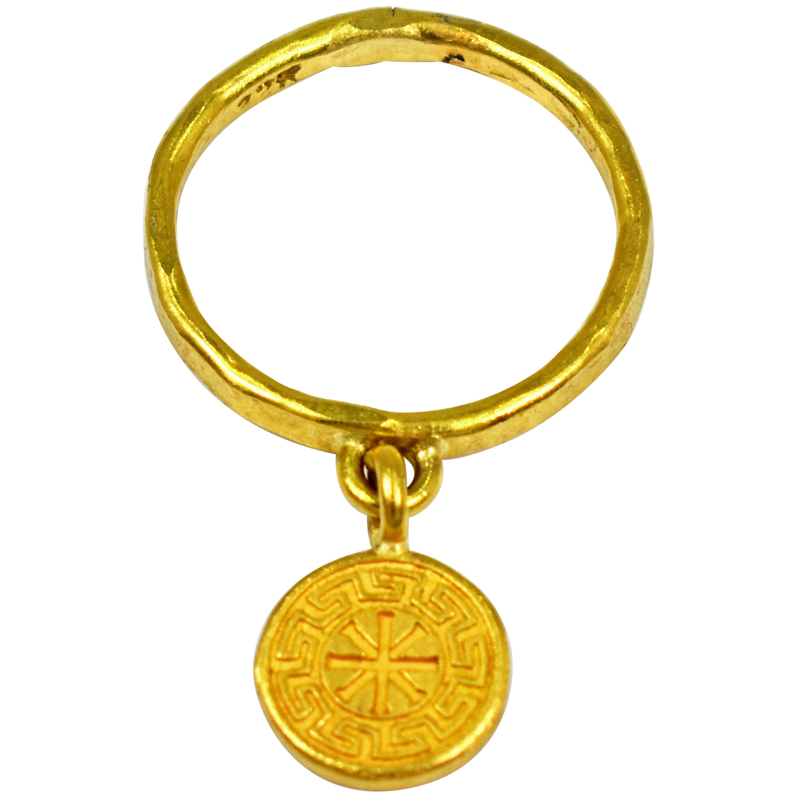 22 Karat Gold Ixthus Charm Ring Band
