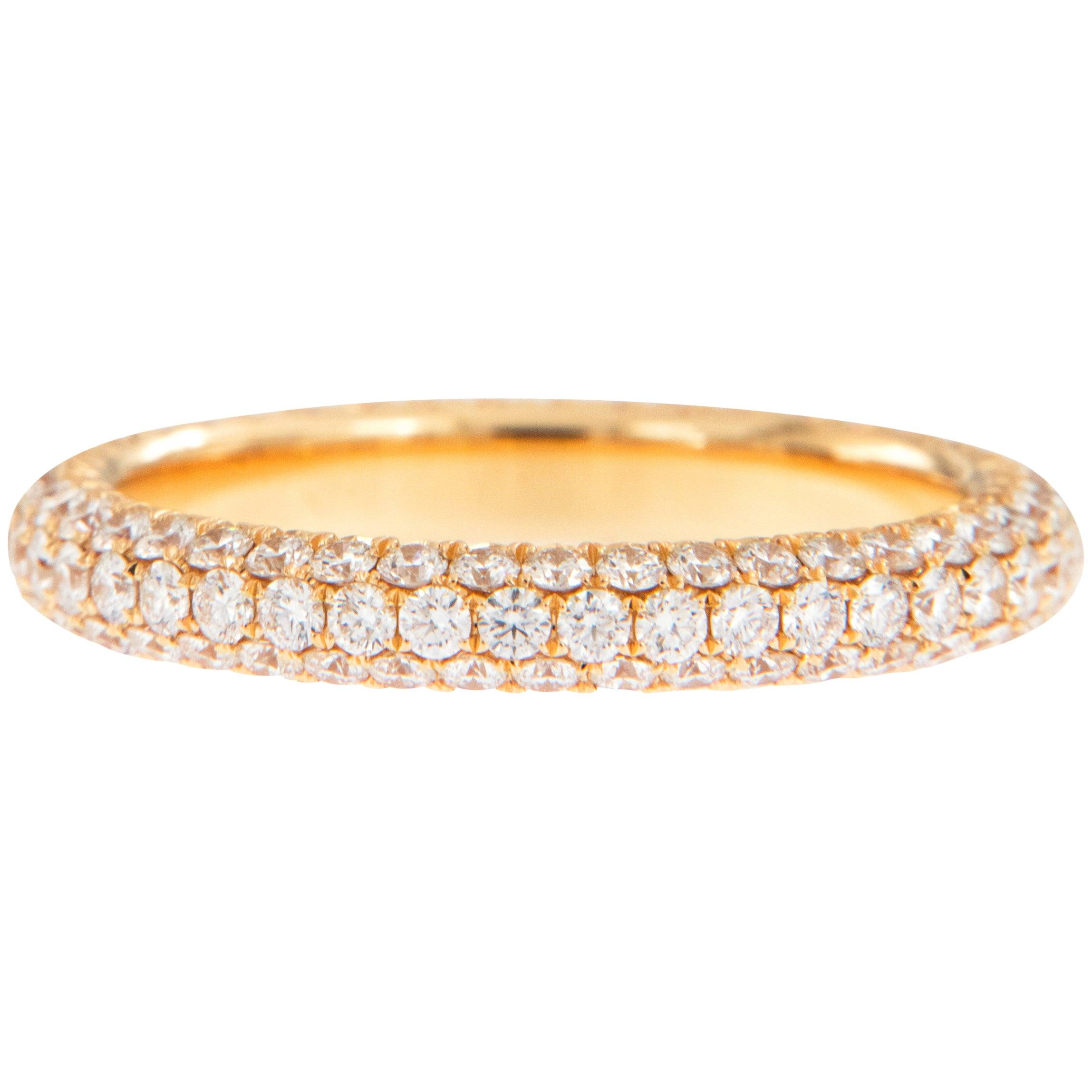 William Rosenberg 18 Karat Rose Gold 1.51 Carat Pave' Diamond Eternity Ring
