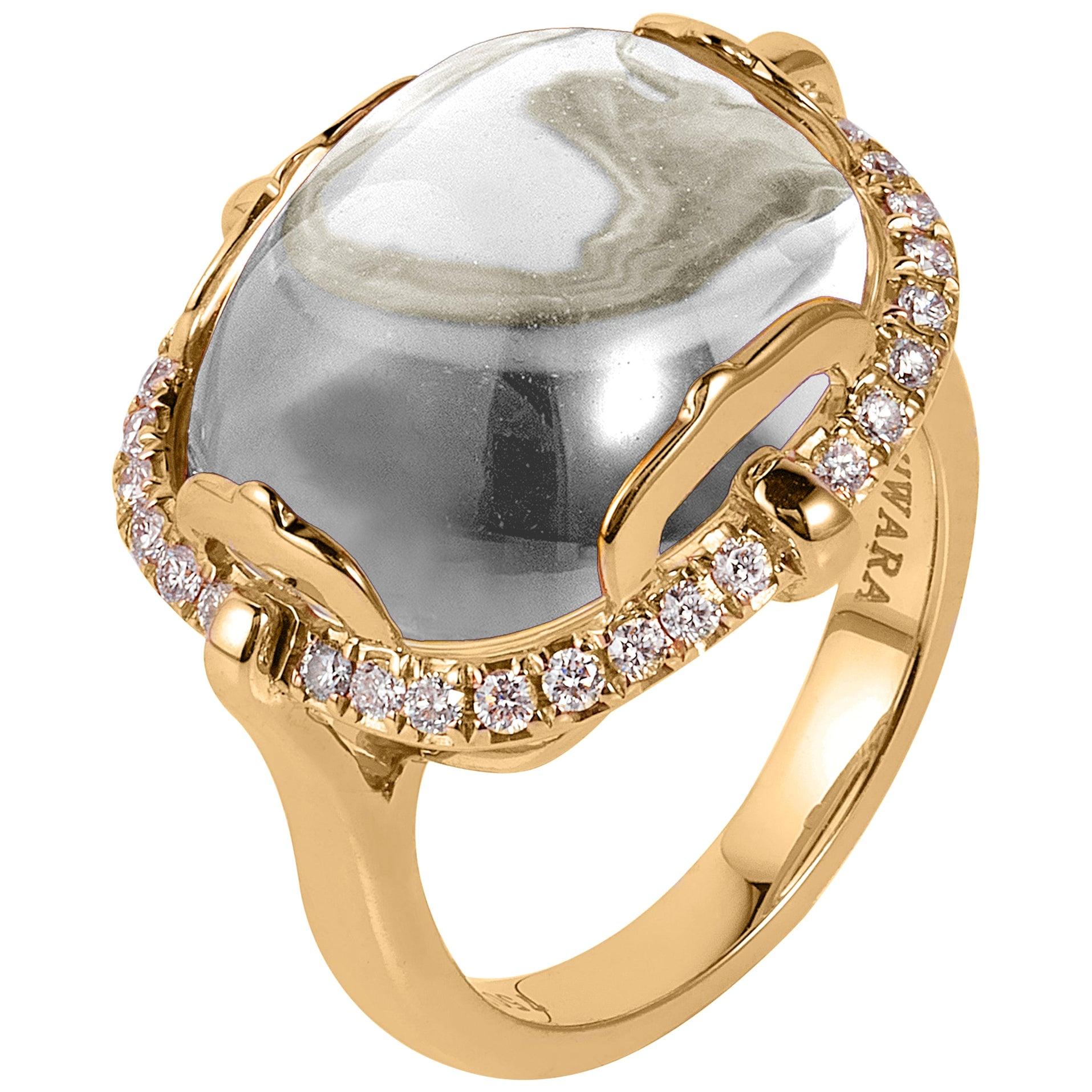 Goshwara Cushion Cabochon Rock Crystal and Diamond Ring