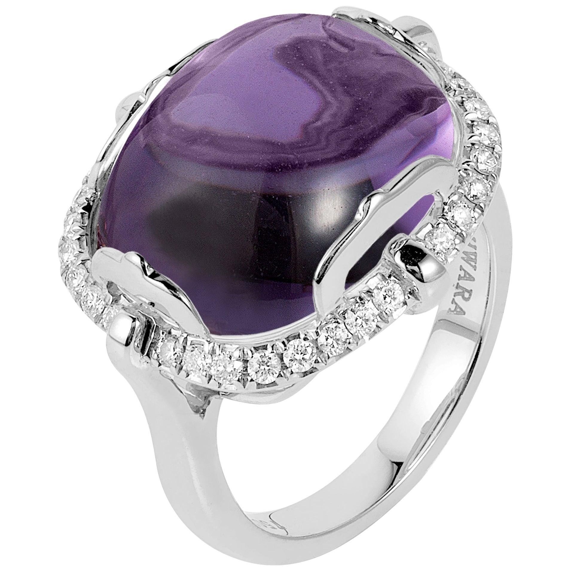 Goshwara Amethyst Cushion Cabochon And Diamond Ring