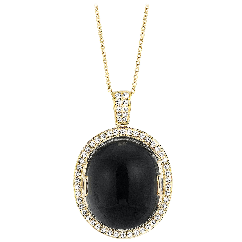 Goshwara Onyx Oval Cabochon and Diamond Pendant