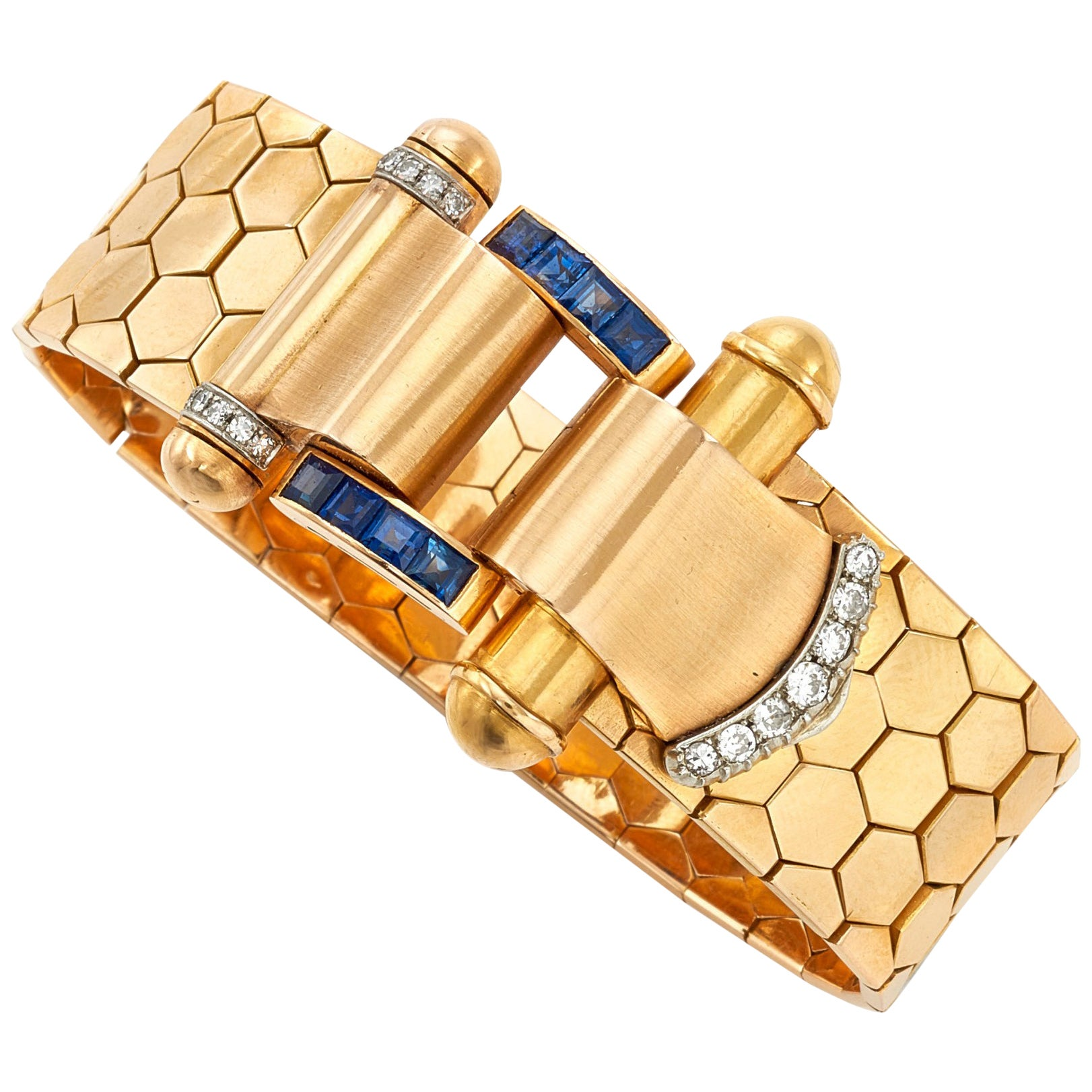 Set Sapphire and Diamond Bracelet, 1940s